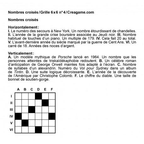 Nombres croisés 6x6 n° 4