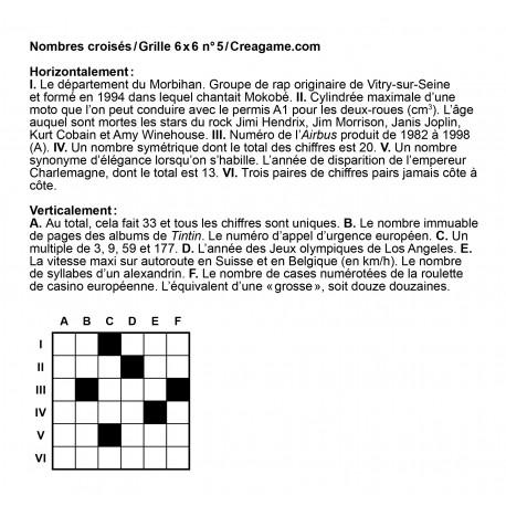 Nombres croisés 6x6 n° 5
