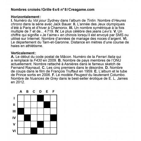 Nombres croisés 6x6 n° 8