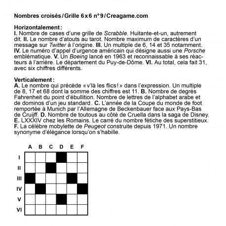 Nombres croisés 6x6 n° 9