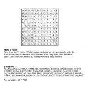 Mots à rayer thématiques 12x12 n° 7 / pays