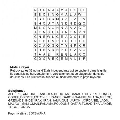 Mots à rayer thématiques 12x12 n° 10 / pays