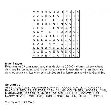Mots à rayer thématiques 12x12 n° 12 / villes françaises