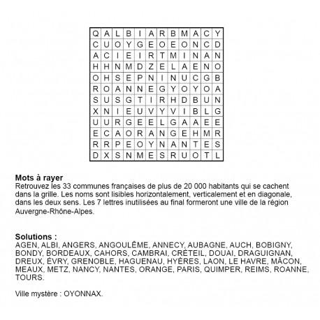Mots à rayer thématiques 12x12 n° 13 / villes françaises