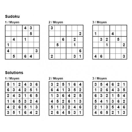 Sudoku 6x6 - Niveau Moyen - Pack n° 3 de 3 grilles