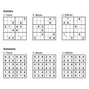 Sudoku 6x6 - Pack n° 2 de 3 grilles - 3 niveaux (Facile / Moyen / Difficile)