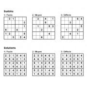 Sudoku 6x6 - Pack n° 3 de 3 grilles - 3 niveaux (Facile / Moyen / Difficile)