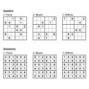 Sudoku 6x6 - Pack n° 4 de 3 grilles - 3 niveaux (Facile / Moyen / Difficile)