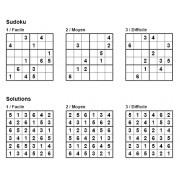 Sudoku 6x6 - Pack n° 7 de 3 grilles - 3 niveaux (Facile / Moyen / Difficile)