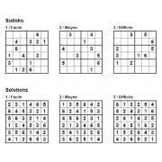 Sudoku 6x6 - Pack n° 8 de 3 grilles - 3 niveaux (Facile / Moyen / Difficile)
