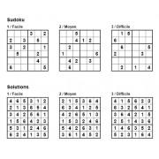 Sudoku 6x6 - Pack n° 10 de 3 grilles - 3 niveaux (Facile / Moyen / Difficile)